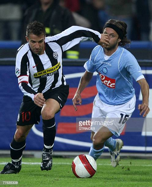FC Juventus' captain Alex Del Piero Marcelo Zalayeta fights for the ball with SSC Napoli' Andrea Cupi during their Calcio football match...