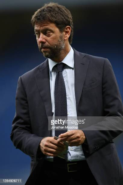 Juventus Chairman Andrea Agnelli pictured on the pitch prior to the Serie A match between AC Milan and Juventus at Stadio Giuseppe Meazza on July 07,...