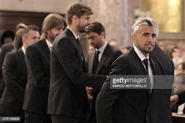 Juventus' Chilean midfielder Arturo Pardo Vidal attends a mass at Gran Madre di Dio church in Turin on May 29 to mark the 30th anniversary of the...