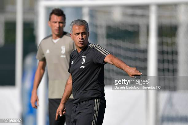 Juventus coach Aldo Dolcetti during a training session at JTC on August 27 2018 in Turin Italy