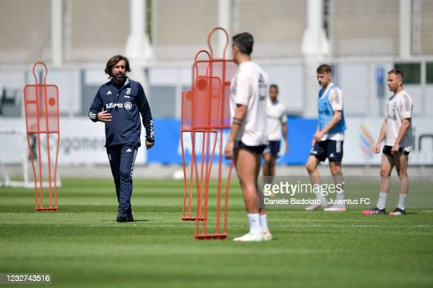 Juventus coach Andrea Pirlo during a training session at JTC on May 07, 2021 in Turin, Italy.