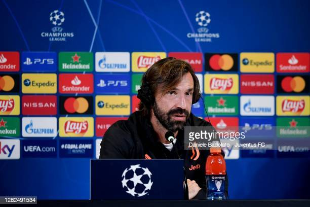 Juventus coach Andrea Pirlo during the UEFA Champions League press conference at Allianz Stadium on October 27 2020 in Turin Italy