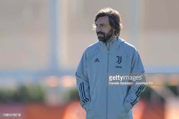 Juventus coach Andrea Pirlo during the UEFA Champions League training session at JTC on October 27 2020 in Turin Italy