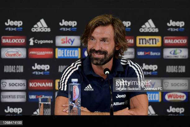 Juventus coach Andrea Pirlo press conference at Allianz Stadium on August 25, 2020 in Turin, Italy.