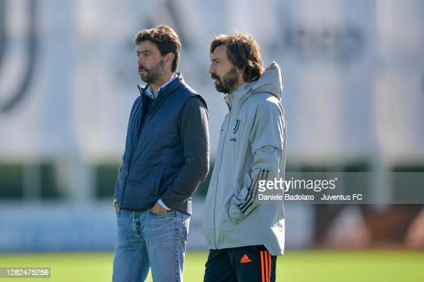 Juventus coach Andrea Pirlo with Andrea Agnelli during the UEFA Champions League training session at JTC on October 27 2020 in Turin Italy