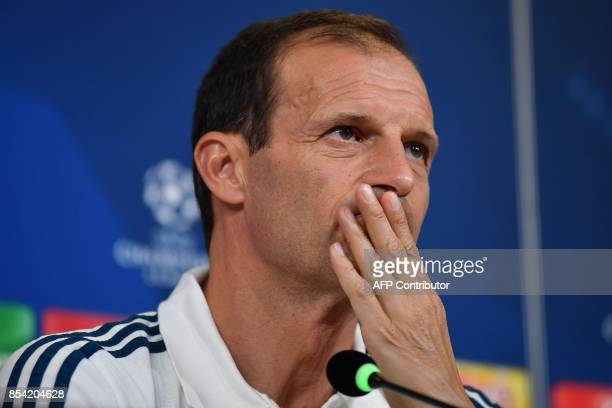 Juventus' coach from Italy Massimiliano Allegri attends a press conference on the eve of the UEFA Champions League football match Juventus vs...
