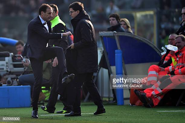 Juventus' coach from Italy Massimiliano Allegri reacts during the Italian Serie A football match between Carpi and Juventus at Alberto Braglia...