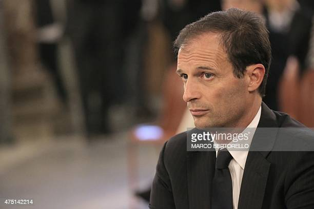 Juventus' coach Massimiliano Allegri attends a mass at Gran Madre di Dio church in Turin on May 29 to mark the 30th anniversary of Heysel Stadium...