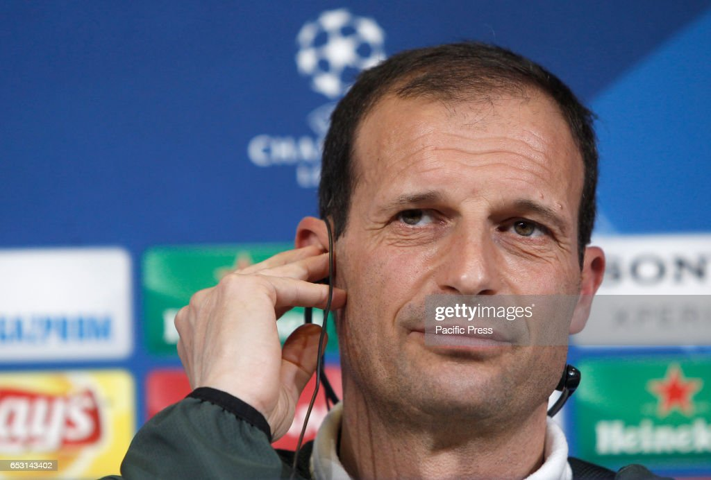 Juventus coach Massimiliano Allegri attends a press conference ahead of the Champions League round of 16 second leg soccer match against Porto.