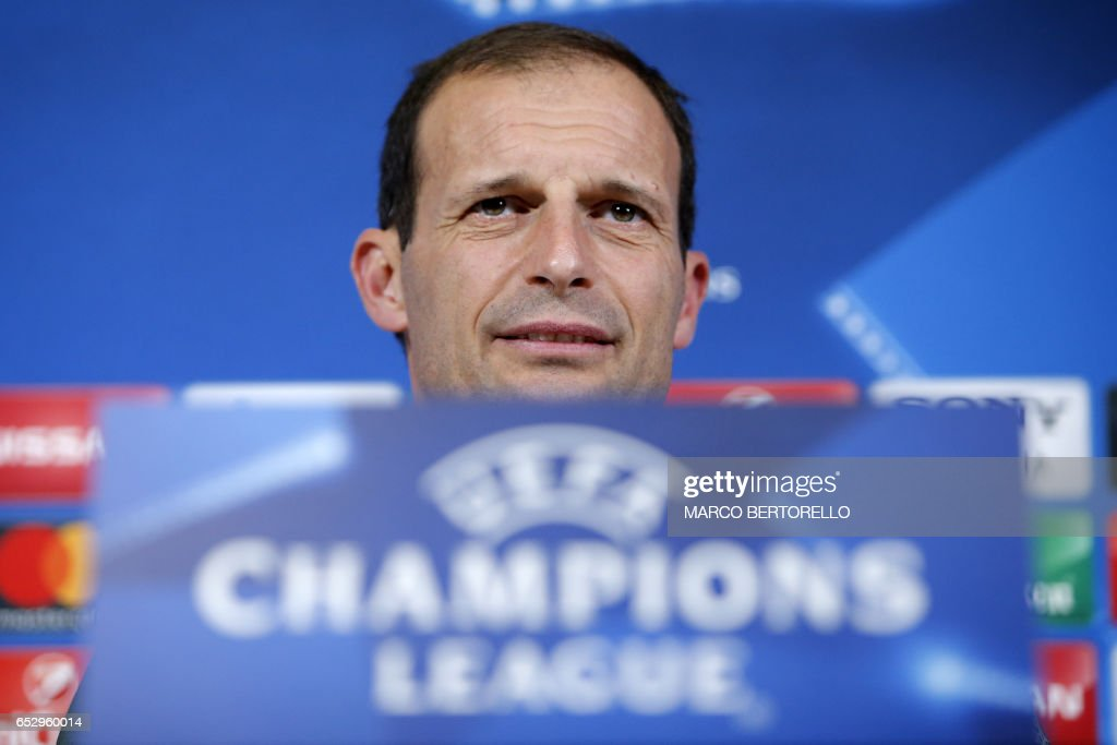 Juventus' coach Massimiliano Allegri attends a press conference on the eve of the UEFA Champions League football match Juventus Vs FC Porto on March 13, 2017 at the 'Juventus Stadium' in Turin. / AFP PHOTO / Marco BERTORELLO