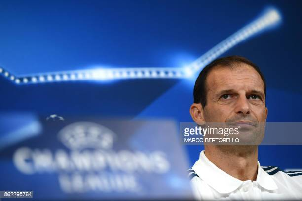 Juventus' coach Massimiliano Allegri attends a press conference on the eve of the UEFA Champions League football match Juventus Vs Sporting CP...