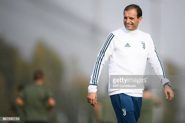 Juventus' coach Massimiliano Allegri attends a training session on the eve of the UEFA Champions League football match Juventus Vs Sporting CP...