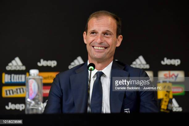 Juventus coach Massimiliano Allegri during the press conference at Allianz Stadium on August 17 2018 in Turin Italy