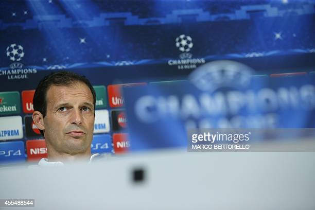 Juventus' coach Massimiliano Allegri gives a press conference on the eve of the Champions League football match Juventus vs Malmo on September 15...