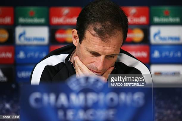 Juventus' coach Massimiliano Allegri gives a press conference on the eve of the Champions League football match Juventus vs Olympiacos on November 3...