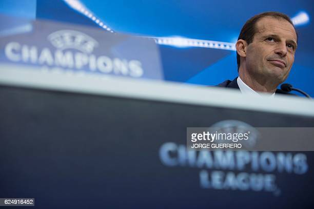 Juventus' coach Massimiliano Allegri looks on as he gives a press conference at the Sanchez Pizjuan's stadium in Sevilla on November 21 2016 on the...