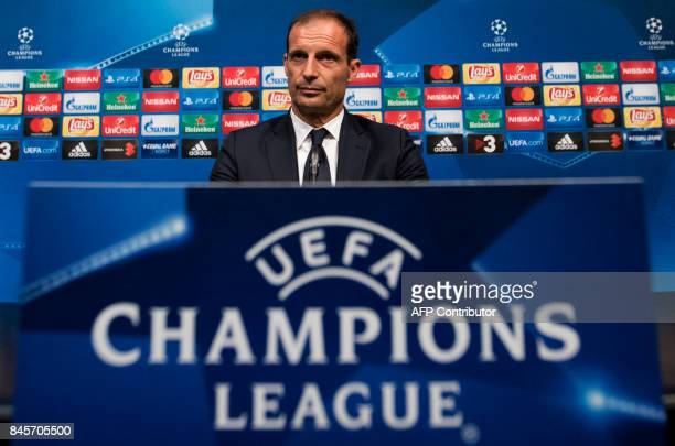 Juventus' coach Massimiliano Allegri looks on during a press conference at the Camp Nou stadium in Barcelona on September 11 2017 on the eve of the...