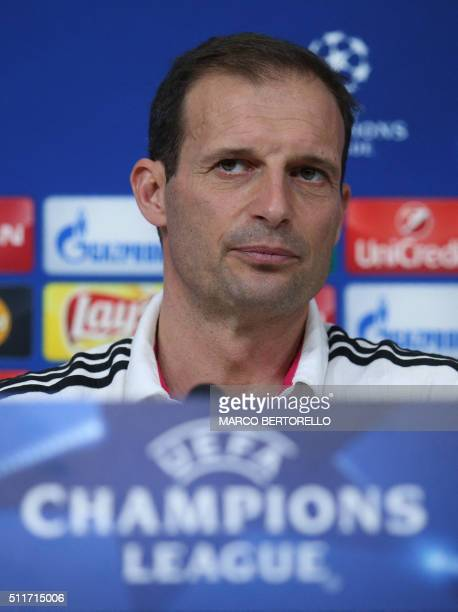 Juventus' coach Massimiliano Allegri looks on during a press conference on the eve of the UEFA Champions League football match between Juventus and...