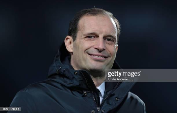 Juventus coach Massimiliano Allegri looks on during the Coppa Italia match between Atalanta BC and Juventus at Stadio Atleti Azzurri d'Italia on...