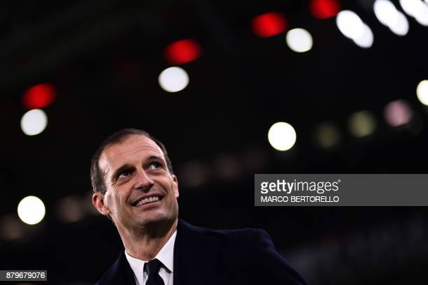 Juventus' coach Massimiliano Allegri looks on during the Italian Serie A football match Juventus Vs Crotone on November 26 2017 at the 'Allianz...