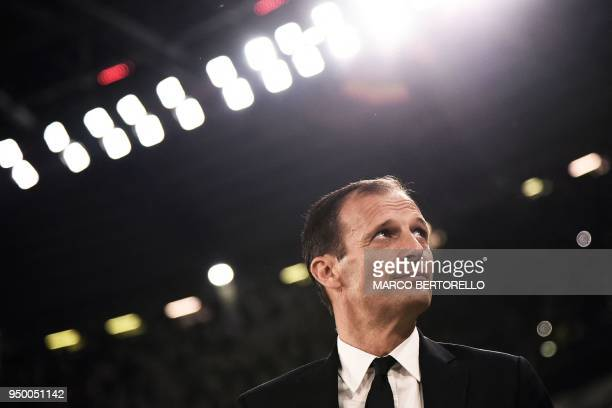 Juventus' coach Massimiliano Allegri looks on during the Italian Serie A football match between Juventus and Napoli on April 22 2018 at the Allianz...