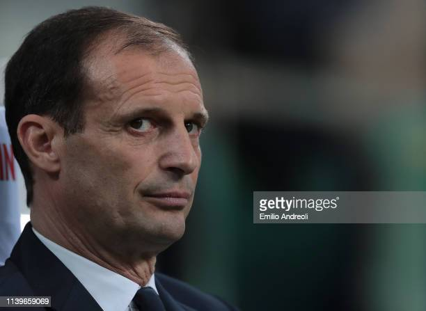 Juventus coach Massimiliano Allegri looks on during the Serie A match between FC Internazionale and Juventus at Stadio Giuseppe Meazza on April 27...