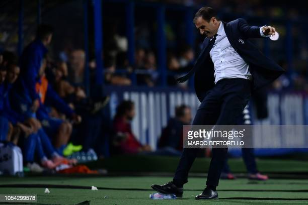 Juventus' coach Massimiliano Allegri reacts during the Italian Serie A football match between Empoli and Juventus on October 27 2018 at the Carlo...