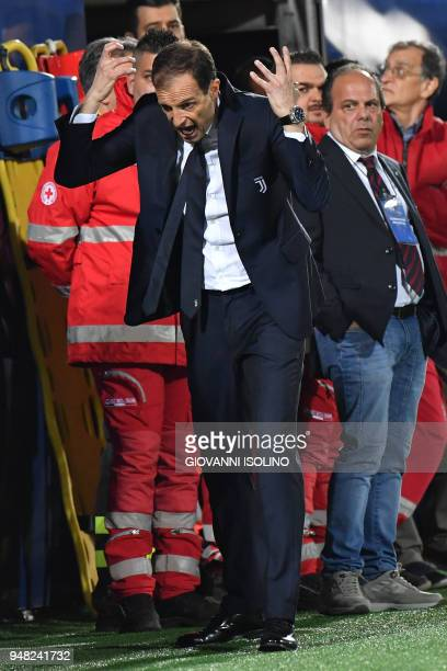 Juventus coach Massimiliano Allegri reacts during the Italian Serie A football match FC Crotone vs Juventus on April 20 2018 at the Ezio Scida...