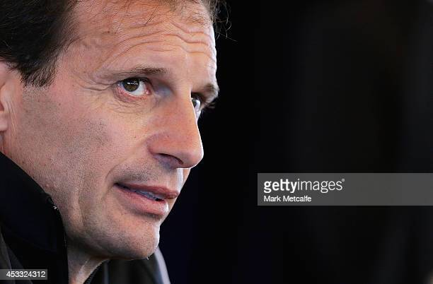 Juventus Coach Massimiliano Allegri speaks to the media during the Juventus media conference at Sydney Opera House on August 8 2014 in Sydney...