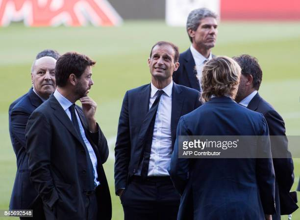 Juventus' coach Massimiliano Allegri stands the pitch of the Camp Nou stadium in Barcelona on September 11 2017 on the eve of the UEFA Champions...