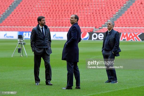 Juventus coach Massimiliano Allegri with Andrea Agnelli and Aldo Dolcetti during the walk around at Johan Cruyff Arena on April 09 2019 in Amsterdam...