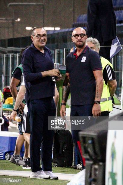Juventus coach Maurizio Sarri and Cagliari coach Walter Zenga look on during the Serie A football match n.37 between Cagliari and Juventus on July...