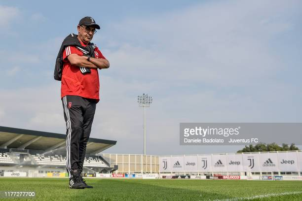 Juventus coach Maurizio Sarri during a training session at JTC on September 26 2019 in Turin Italy