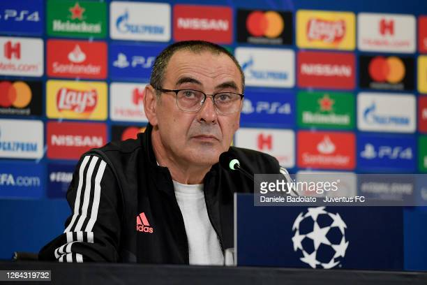 Juventus coach Maurizio Sarri during the press conference ahead the Champions League match between Juventus and Olympique Lyonnais at Allianz Stadium...