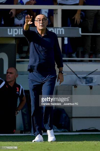 Juventus coach Maurizio Sarri during the Serie A match between ACF Fiorentina and Juventus at Stadio Artemio Franchi on September 15 2019 in Florence...