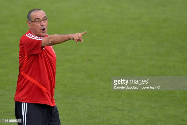 Juventus coach Maurizio Sarri gestures during the training session at Jtc on July 14 2019 in Turin Italy