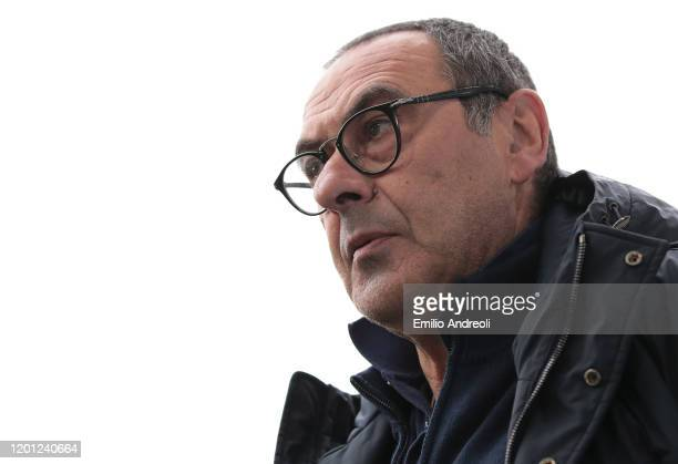 Juventus coach Maurizio Sarri looks on during the Serie A match between Juventus and Brescia Calcio at Allianz Stadium on February 16, 2020 in Turin,...