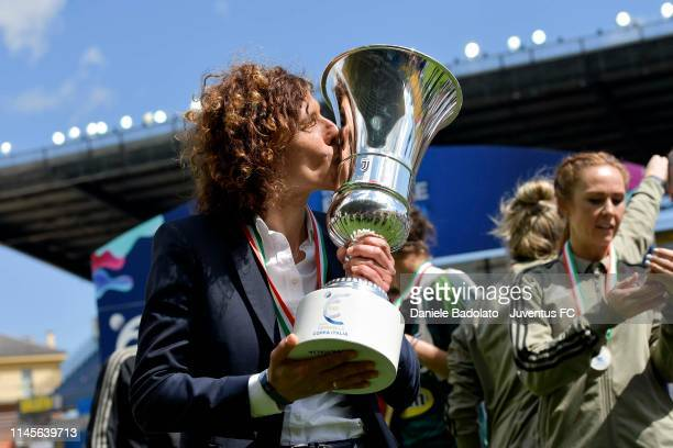Juventus coach Rita Guarino kisses the trophy after their victory in the Women Coppa Italia Final match between Juventus Women and ACF Fiorentina...