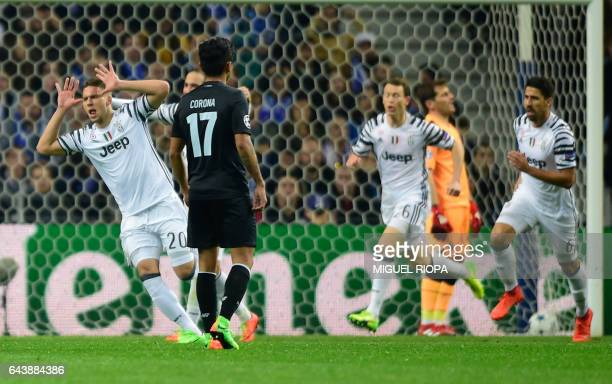 Juventus' Croatian forward Marko Pjaca celebrates after scoring a goal during the UEFA Champions League round of 16 second leg football match FC...