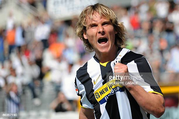 Juventus Czech midfielder Pavel Nedved celebrates after scoring his second goal during their Serie A football match Juventus vs Lecce at Olympic...