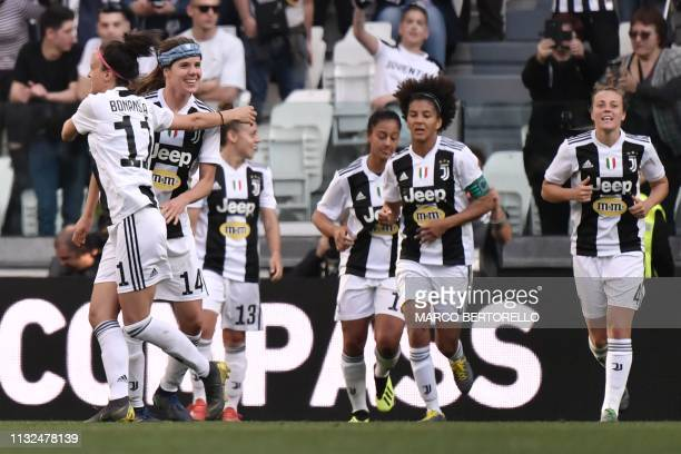 Juventus' Danish midfielder Sofie Junge Pedersen celebrates with Juventus' Italia forward Barbara Bonansea after scoring during the Women's Serie A...