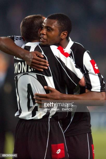 Juventus' Danubio Macrelo Zalayeta and Paulo Montero celebrate victory