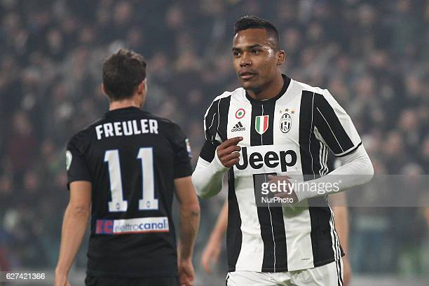 Juventus defender Alex Sandro celebrates after scoring his goal during the Serie A match between Juventus FC and Atalanta BC at Juventus Stadium on...