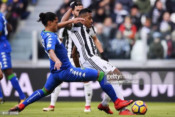 Juventus' defender Alex Sandro from Brazil scores a goal during the Italian Serie A football match Juventus Vs Sassuolo on February 4 2018 at the...