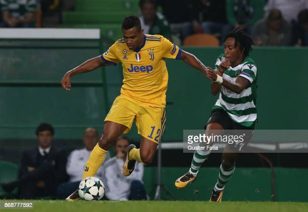Juventus defender Alex Sandro from Brazil with Sporting CP forward Gelson Martins from Portugal in action during the UEFA Champions League match...
