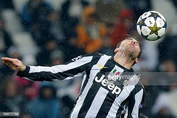 Juventus' defender Andrea Barzagli jumps for the ball during the Champions League match Juventus vs Celtic FC on March 6 2013 at the Juventus Stadium...