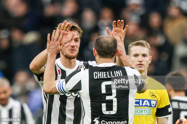 Juventus defender Daniele Rugani and Juventus defender Giorgio Chiellini celebrate victory after the Serie A football match n28 JUVENTUS UDINESE on...