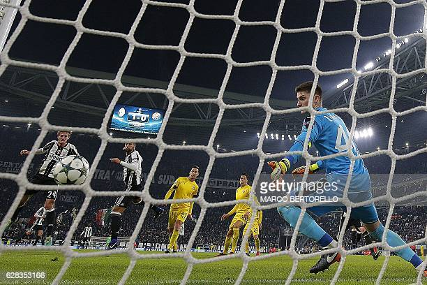 Juventus' defender Daniele Rugani scores during the UEFA Champions League football match Juventus Vs GNK Dinamo Zagreb on December 7 2016 at the...