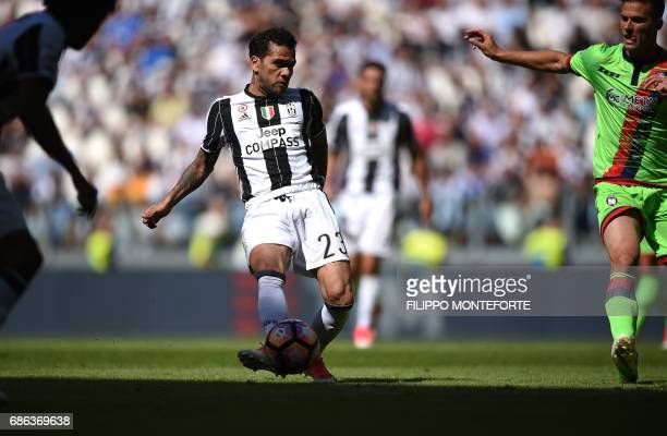 Juventus' defender from Brazil Dani Alves plays the ball during the Italian Serie A football match Juventus vs Crotone at the Juventus Stadium in...