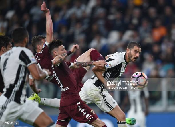 Juventus' defender from Italy Leonardo Bonucci goes for a header during the Italian Serie A football match Juventus vs Torino FC at the Juventus...